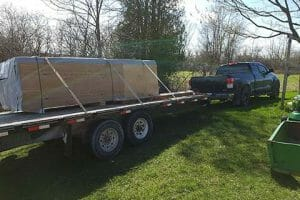How we deliver a Bunkie Kit on a trailer attached to a truck